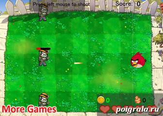 Игра Злые птицы против зомби