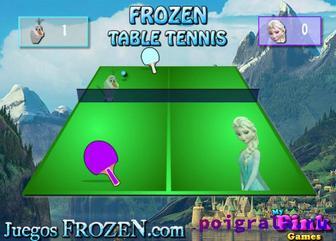 Картинка к игре Анна и Олаф играют в настольный теннис