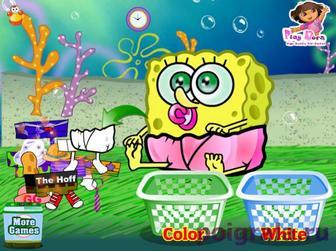 Картинка к игре Постирать одежду малышу Спанчбобу