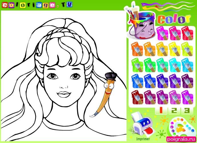Игра Барби раскраска