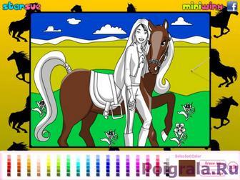 Картинка к игре Раскраска девушки с лошадью