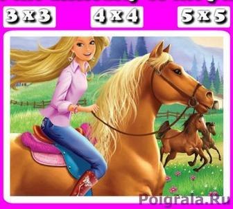 Пазл с барби на лошади картинка 1