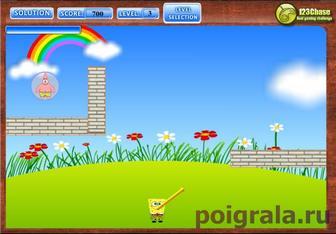 Картинка к игре Губка Боб бросает еду в Патрика