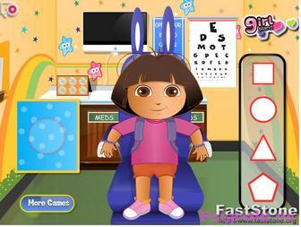 Картинка к игре Даша и Диего лечим глаза у окулиста