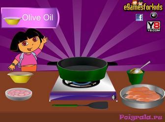 Картинка к игре Даша готовит курицу