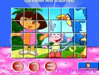 Картинка к игре Пазл даша и башмачок для девочек