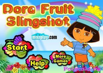 Игра Даша стреляет из рогатки по фруктам