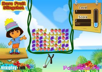 Картинка к игре Даша стреляет из рогатки по фруктам