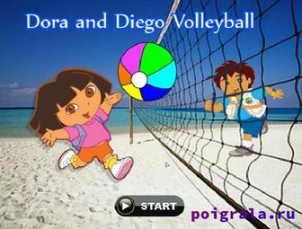 Игра Диего и Даша играют в волейбол