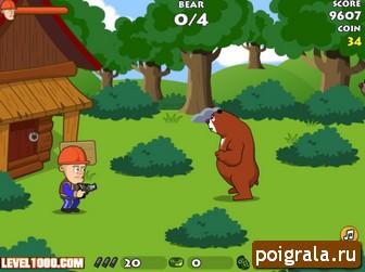 Игра Защити домик от медведей