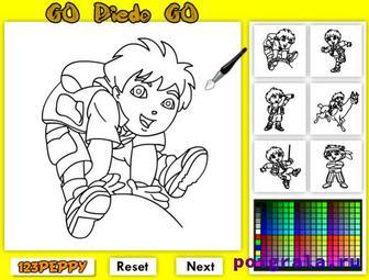 Картинка к игре Диего вперед раскраска