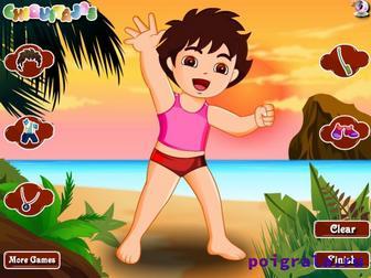 Картинка к игре Диего на пляже, одевалка