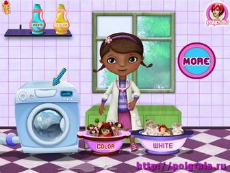 Картинка к игре Доктор Плюшева стирает игрушки