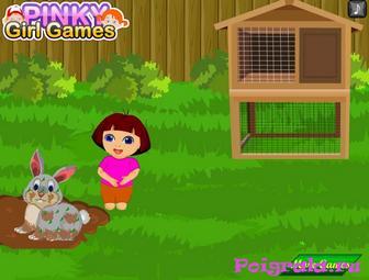 Картинка к игре Даша ухаживает за кроликом