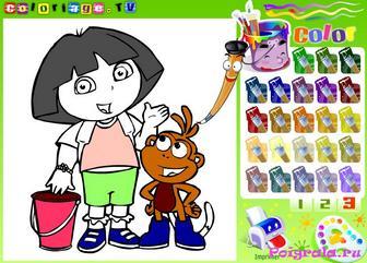 Картинка к игре Раскраска Даши и башмачка