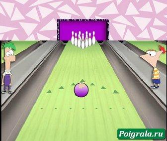 Картинка к игре Финис и Ферб, боулинг