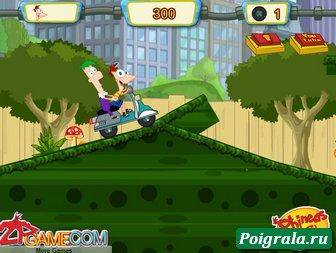 Картинка к игре Финис и Ферб на мотоцикле