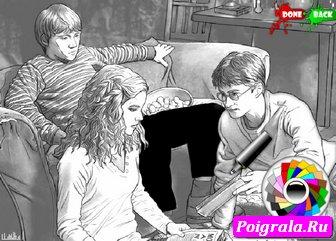 Картинка к игре Гарри и Гермиона раскраска