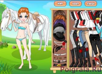 Девушка с лошадью - одевалка картинка 1