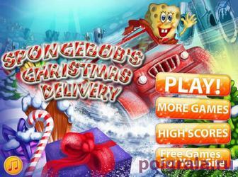 Игра Губка Боб доставка новогодних подарков