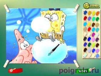 Раскраска Губка Боб и Патрик надувают шары картинка 1