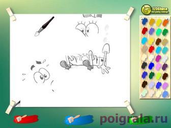 Картинка к игре Раскраска Губка Боб и Патрик надувают шары