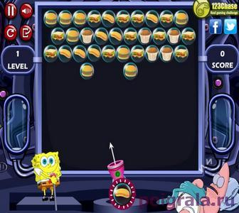 Картинка к игре Губка Боб стреляет фастфудами