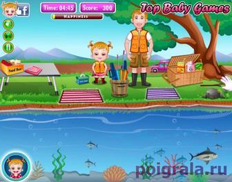 Игра Малышка хейзел ловит рыбу
