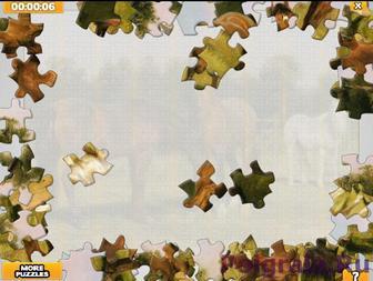 Картинка к игре Пазл 3 лошади на лугу