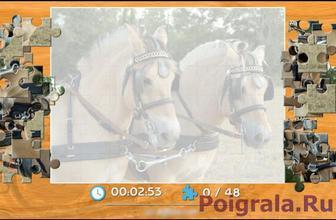 Картинка к игре 2 лошади в упряжке