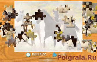 Картинка к игре Лошади резвятся на лугу