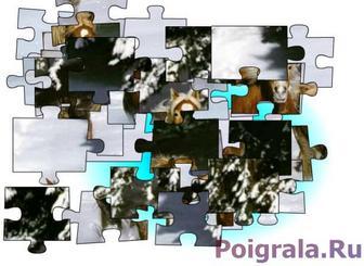 Картинка к игре Пазл, лошади зимой