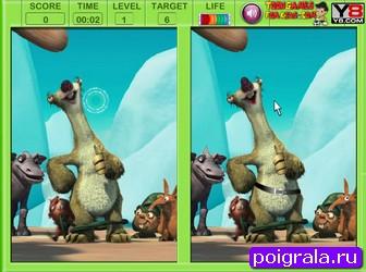 Картинка к игре Эра динозавров, найди отличия