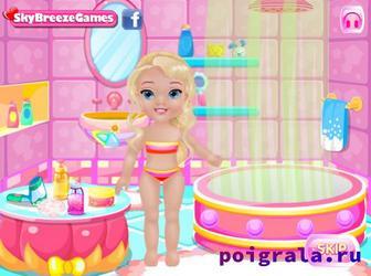 Игра Малышка Эльза в ванной