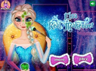Игра Настоящий макияж Эльзы для девочек