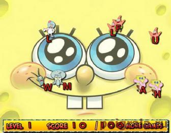 Картинка к игре Губка Боб печатаем буквы
