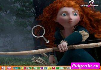 Картинка к игре Принцесса Мерида, скрытые числа