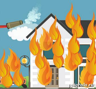Картинка к игре Кот Том тушит пожар