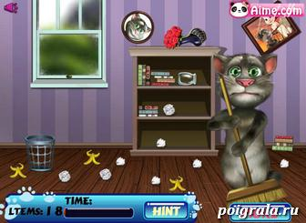 Картинка к игре Кот том убирает в комнате