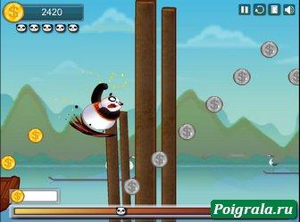 Картинка к игре Панда бежит по мосту