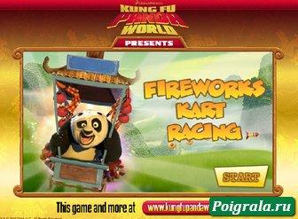 Игра Кунг фу панда гонки на тележке