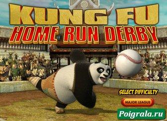 Игра Кунг фу панда играет в бейсбол