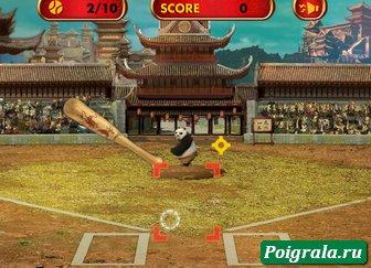 Картинка к игре Кунг фу панда играет в бейсбол