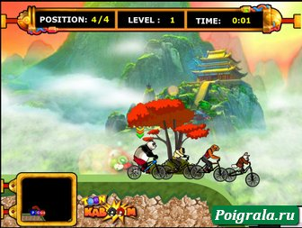 Картинка к игре Кунг фу панда, гонки на велосипеде