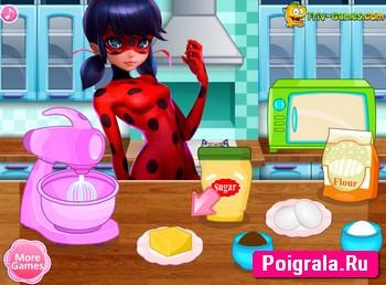 Картинка к игре Леди Баг и Спер Кот готовят кексы