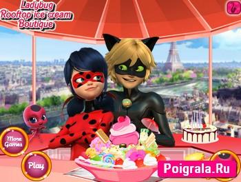Леди Баг и Супер Кот едят мороженое картинка 1