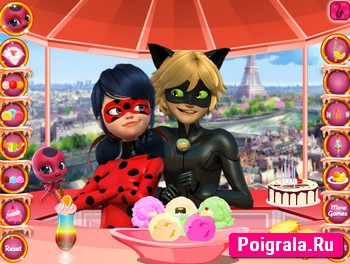 Картинка к игре Леди Баг и Супер Кот едят мороженое