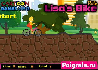 Картинка к игре Лиза Симпсон на велосипеде