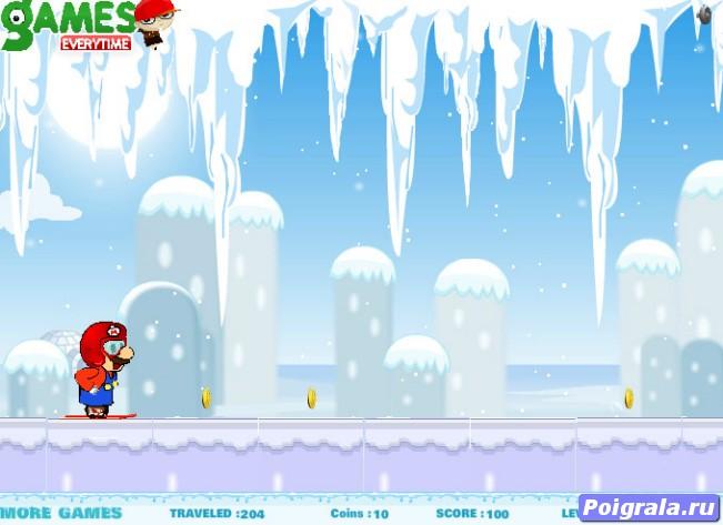 Картинка к игре Марио катается на лыжах