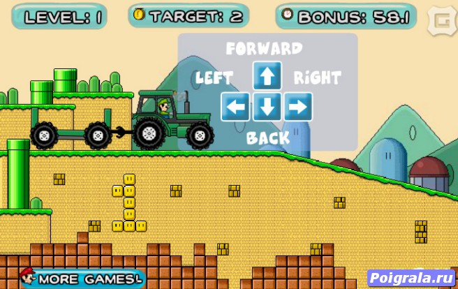 Картинка к игре Марио на тракторе
